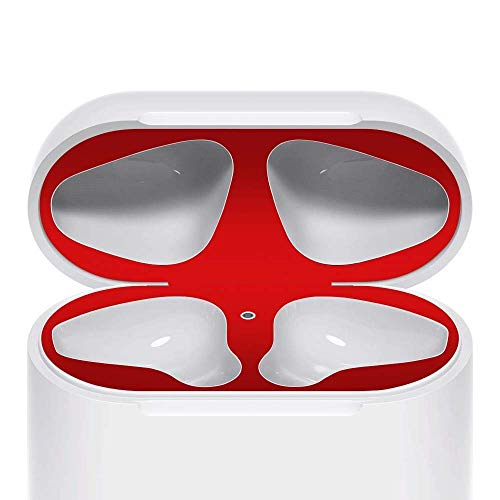 JNSA Dust Guard for AirPods [2 Set][Protect AirPods from Iron/Metal Shavings][Luxurious Looking] Red ()