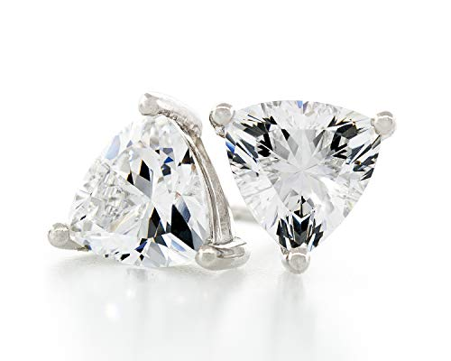 Acacia Collection Premium Quality Simulated Diamond CZ Hypoallergenic Nickel Free Sterling Silver Stud Earrings Trillion 2 Carat (ctw) 6.5x6.5mm
