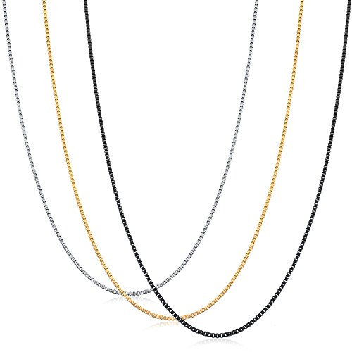ORAZIO 3Pcs 1.2MM Stainless Steel Box Chain Necklace for Men Women Necklace Set 14 inches ()