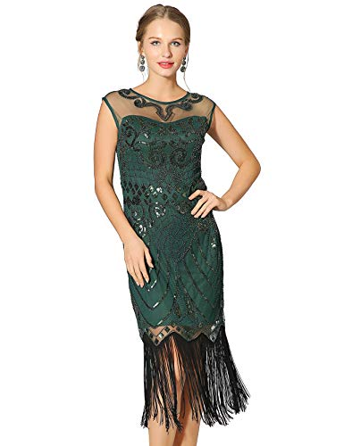 (Metme Women's Sequins Beaded Art Deco Lace Dresses for 20s Cooktail Party Fringed Dress)
