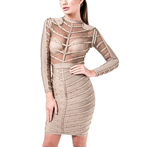 Sleeve Knee Length Bandage Rayon Hlbandage Gris Mesh Beaded Long Dress PqwxIO6Z5S