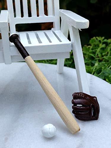 Danike Decor Miniature Dollhouse Fairy Garden Accessories Wood Baseball Bat W Ball & Glove