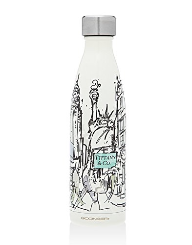 Godinger NEW YORK Water Bottle - Perfect NY City Souvenir Travel Water Bottle, With Imprinted Brands on it, Insulated Leak-proof Double Walled Stainless Steel, Keeps Your Drink Hot & Cold - Stores On Best 5th Avenue