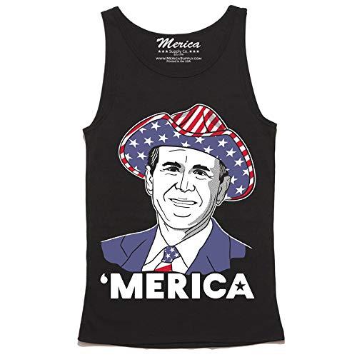 George W Bush Merica Tank Top - Patriotic Tank - USA President Sleeveless Shirt ()