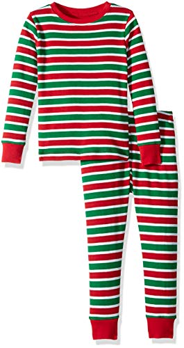 Hatley Boys' Big Organic Cotton Long Sleeve Printed Pajama Sets, Holiday Stripe, 8 Years ()