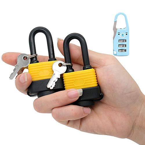 30mm Waterproof Padlock - Ideal for Home, Garden Shed, Outdoor, Garage, Gate Security (2 Pieces Set, Send a Small Password Lock) (Best Padlock For Outdoor Shed)