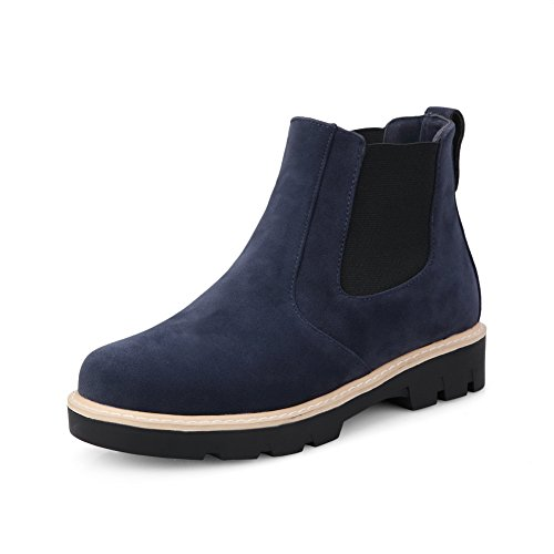 A&N Ladies Preppy Style Anti-Skidding Bottom Casual Frosted Boots Blue YuNWr