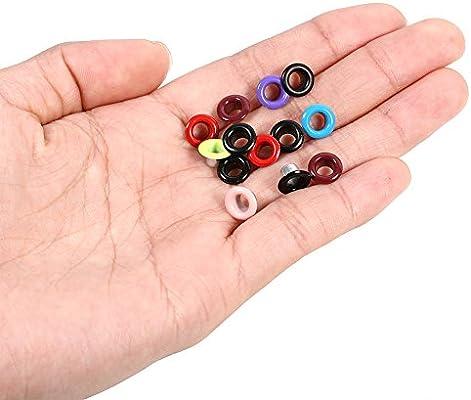 Ropa 100 Pcs Ojales y Arandelas de Metal,Ojales Coloridos,DIY Accesorios,5MM,para Hecho a Mano,manualidades,para DIY Bricolaje Artesan/ía Bolsas Azul oscuro Zapatos