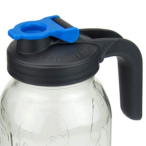 Pour and Store! Wide Mouth Mason Jar Flip Cap Lid With Handle by County Line Kitchen with Airtight, Leak-Proof Seal and Innovative Flip Cap - Handle Only - Wide Mouth