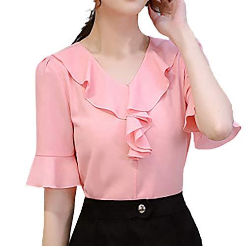 Pervobs Women Cute & Sweet Shirts Summer Puff Half Sleeve Solid Ruffled Chiffon Workout Office Shirt Top Blouse Blusa(L, Z02-Pink)