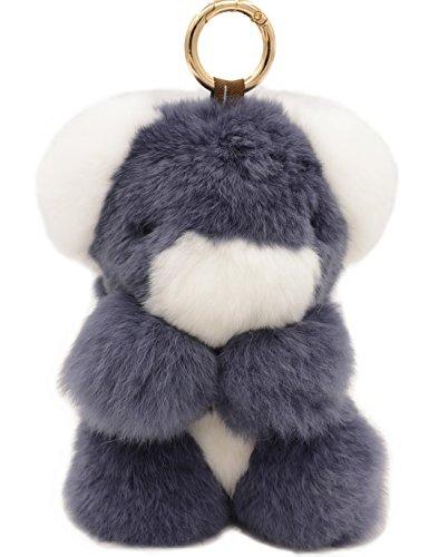 Otter Fur (eShion Real Otter Rabbit Fur Keychain Koala Keyring Plush Doll Toys (Koala, Dark Grey))