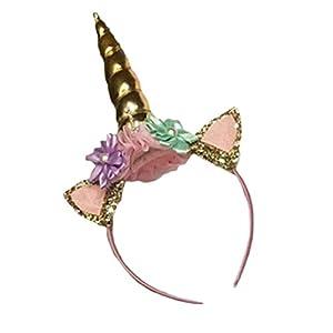 Zeroyoyo Unicorn Horn Head Kid Hair Headband Fancy Dress Cosplay Costume Makeup Wedding Headdress Hair Accessories Golden