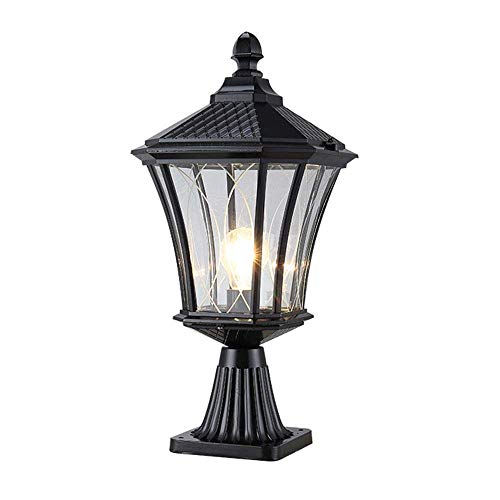 (CGJDZMD Garden Universal E27 Fence Column Lamp Retro Outdoor Waterproof IP55 Post Light Aluminum Glass Lampshade Villa Pillar Lantern Rainproof Patio Lawn Light)