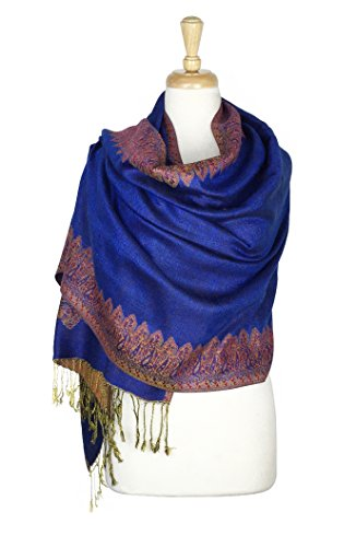Paskmlna Border Pattern Double Layered Reversible Woven Pashmina Shawl Scarf Wrap Stole (#20royal blue) -