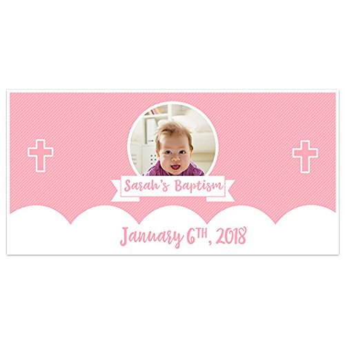 Pink Stripes And Cross Baptism Banner Personalized Party Backdrop Decoration