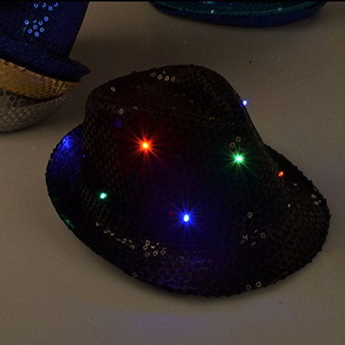 ADSRO LED Hat Flashing Sequin Fedora Jazz Dance Hat Cap Dome Entertainment Cheering Props Show Performing Party Bling Hats for Halloween Christmas (Jazz Props)