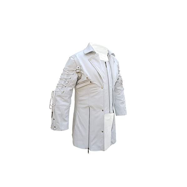 Mens Coat Real White Matrix Trench 100% Real Leather Coat Steampunk Gothic Stylish Design Coat 4