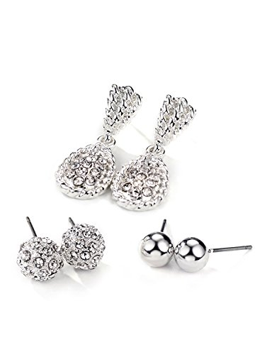 Neoglory Jewelry Silver Color Ball Fireball Silver Stone Post Drop Three Earrings Sets for Sensitive Ears 1 Silverplate Swarovski Crystal
