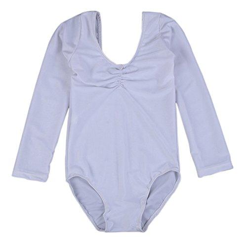[Kids Girls Ballet Dance Leotards Long Sleeve Performance Gymnastics Bodysuit] (Samba Costumes Uk)