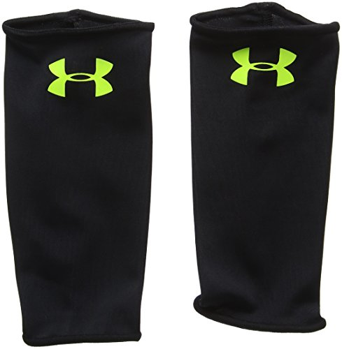 Under Armour Mens Shinguard Sleeves, Black/High-Vis Yellow, Medium