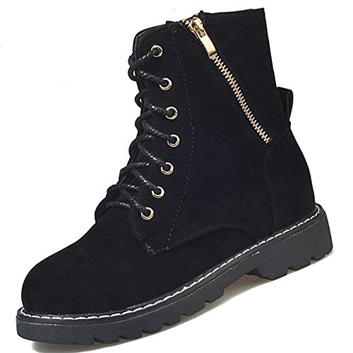 HSXZ Zapatos de mujer moda otoño invierno PU Confort botas botas Chunky talón puntera redonda Mid-Calf botas para negro casual Black