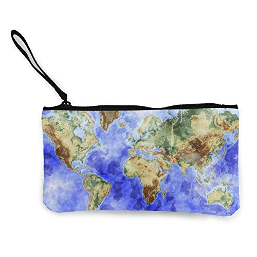 Earth World Map Art, Zipper Wallet Change Coin Purse Card Holder with Key Ring (World Bulk In Coins)