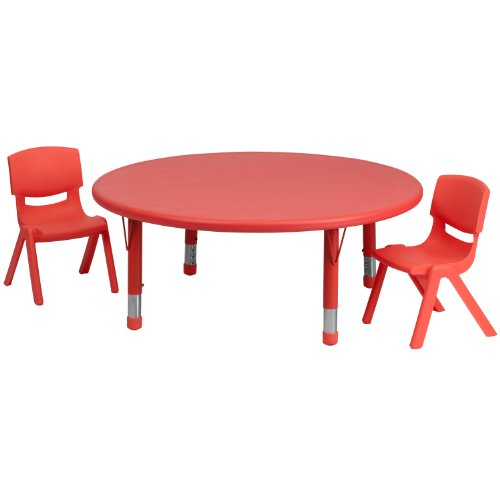 Flash Furniture 45 Inch Round Adjustable Red Plastic Activity Table Set W/ 2 School Stack Chairs - Yu-Ycx-0053-2-Round-Tbl-Red-R-Gg