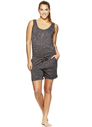Gaiam Women's Gemma Short Romper - French Terry One Piece w/Back Keyhole Cutout Asphalt Heather, X-Small