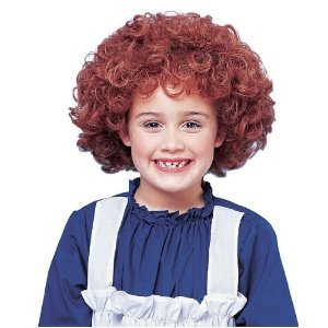 Annie Kids Costumes Wig (Franco Girls Halloween Costume Curly Red Orphan Wig)