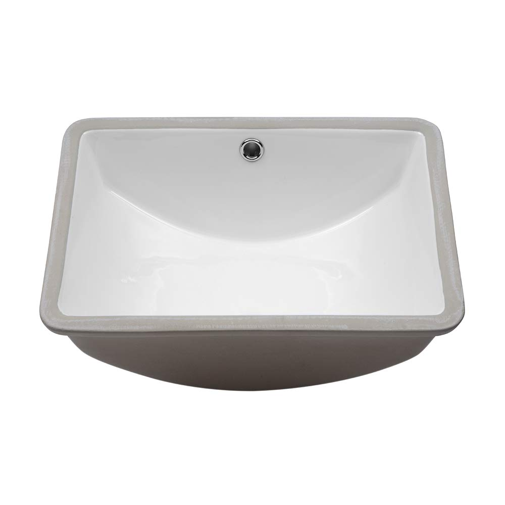 Lordear 18.25 Vessel Sink Modern Pure White Rectangle Undermount Sink Porcelain Ceramic Lavatory Vanity Bathroom Sink 18.25 Inch