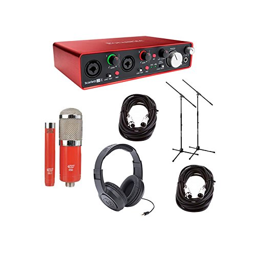 Focusrite Scarlett 2i4 2nd Gen Audio Interface - Bundle With MXL 550/551R Condenser Microphone Kit Red, 2x 20ft XLR Mic Cables, 2xBoom Mic Stands, Stereo Headphones - Red Usually Ships