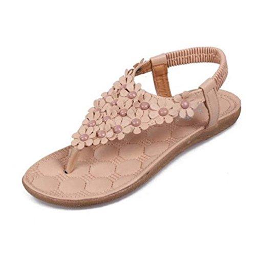 Xinantime Sandalias Bohemia, Sandalias de Espina de Pescado Zapatos de La Playa Khaki