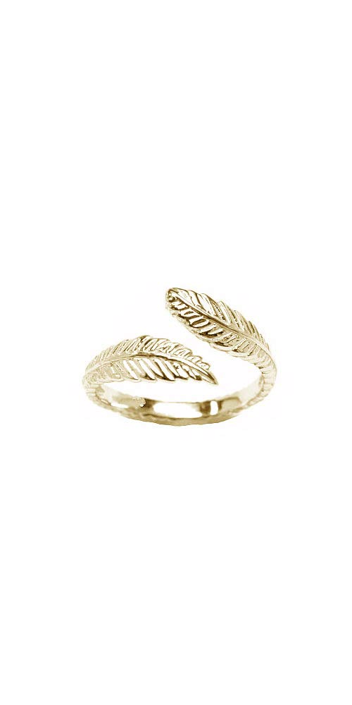 10k Yellow Gold Toe Ring Feather. Size Adjustable by Nose Ring Bling