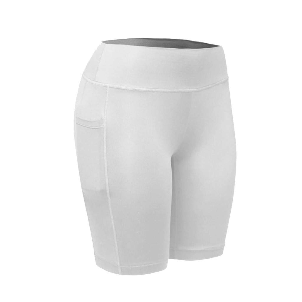 NUWFOR Women's High Waist Yoga Pants Pockets Tummy Workout Running Sports Shorts Pants(White,S US Waist:27.5'')