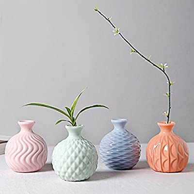 GeLive Ceramic Ikebana Vase, Flower Arrangement, Decorative Bud Hydroponics Container, Reed Diffuser (Colorful 4 Pack) - The set of 4 modernistic ikebana vase flower arrangement made of ceramic materials. Fully glazed, no leaking. Makes arranging flowers so easy Ikebana vases glazed with elegant, attractive 4 kinds of colors, pink, blue, light green and pastel orange. Each of these vases is a little work of art. Simple, graceful and elegant, easily create beautiful arrangements with just a few flowers Bud vase for the single stem of flowers. Super cute for a window sill. Easily fit these vases on any shelf or table, they will looks quite charming - vases, kitchen-dining-room-decor, kitchen-dining-room - 4189FlvM8cL. SS400  -