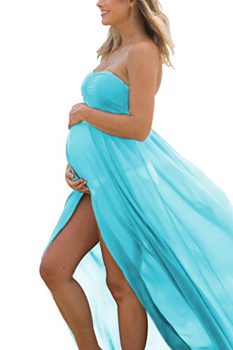 Women's Off Shoulder Strapless Maternity Dress for Photography Split Front Chiffon Gown for (Open Front Strapless Gown)