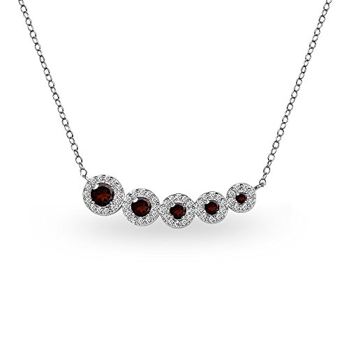 Garnet Journey Pendant - Sterling Silver Garnet Graduated Journey Necklace with White Topaz Accents