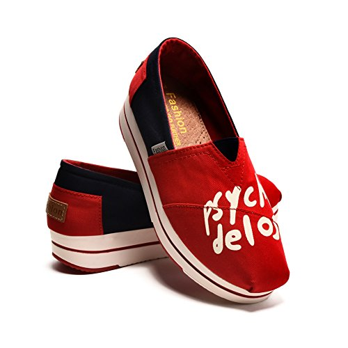 Tiosebon Toile Toile Slip-on Toning Chaussure Marche Sneaker 6219 Red