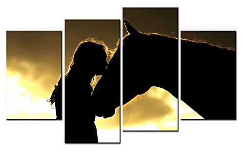 SmartWallArt - Animal Paintings Wall Art the Beautiful Silhouette of a Girl Kissing a Horse with Golden Sunset 4 Pieces Picture Print on Canvas for Modern Home - Horse Silhouette Metal