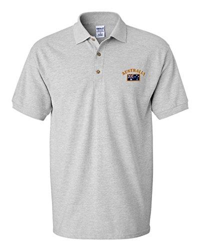 Australia Flag Embroidery Design Adult Cotton Short Sleeve Polo Shirt Oxford Gray - Polo Australia