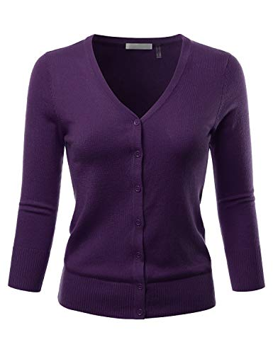 EIMIN Women's 3/4 Sleeve V-Neck Button Down Stretch Knit Cardigan Sweater Grape 3XL