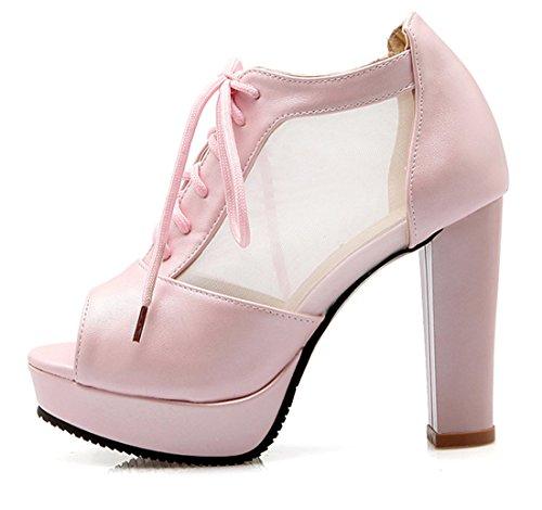 YE Elegant Damen Blockabsatz Peep Toe High Heels Plateau Pumps mit Schnürung 10cm Absatz Schuhe Rosa
