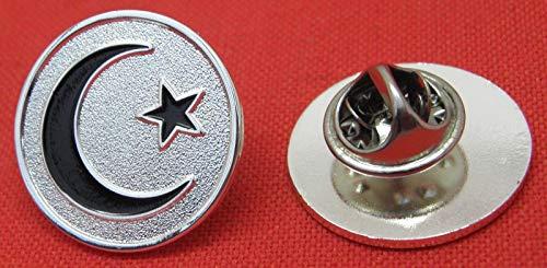 (Muslim Crescent Moon & Star Pin Badge)