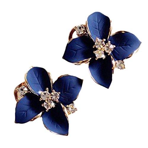 Shining Diva Fashion Enamel Blue Flower Fancy Party Wear Tops Stud Earrings for Women and Girls (Blue) (8540er)