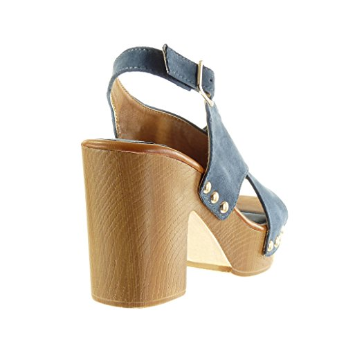 Angkorly Women's Fashion Shoes Sandals Mules - Platform - Open - Thong - Studded - Buckle Block High Heel 9.5 cm Blue jKaYS