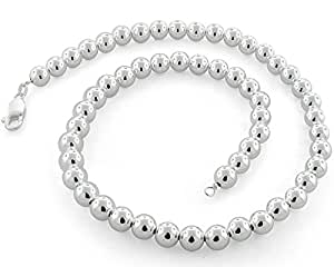 """Sterling Silver Ball Bead Chain 10mm Made in Italy Solid 925 Womens Mens Necklace 16"""""""