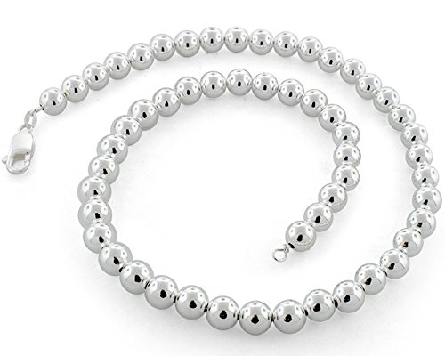 Sterling Silver Ball Bead Chain 10mm Made in Italy Solid 925 Womens Mens Necklace 16