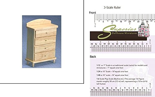 - Dollhouse Miniature Country Oak Chest Of Drawers