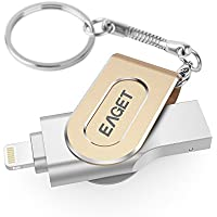 EAGET iPhone iPad Flash Drive 32GB Metal Case USB 3.0 Thumb Drive Lightning Connector External Storage Memory Expansion Apple MFi Certified I80