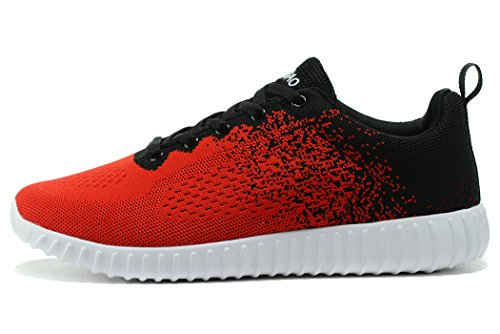 KESUBAO Herren stricken Breathable Casual Sneakers Leichtathletik Tennis Walking Outdoor Sports Laufschuhe Rot schwarz